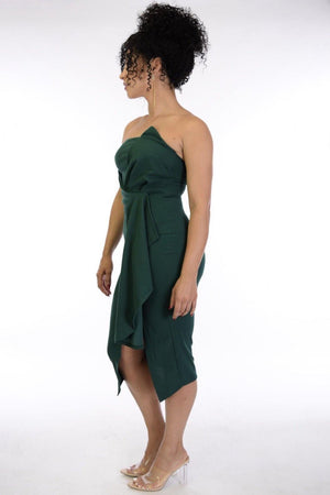 Eva, Hunter green strapples dress with side ruffle & slit