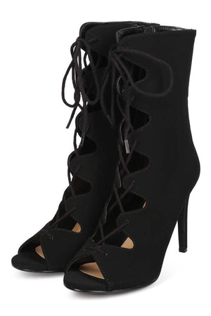 Pudina nubuck black peep toe gladiator lace up heels