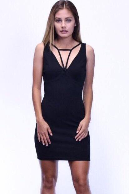 Abebi V-neckline mini Black Dress with front strap detail
