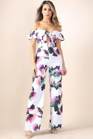 Eviee white floral print Jumpsuit