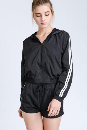 Lola, 2 piece Black Set With Windbreaker Jacket and Double Line Side Track Shorts - Dimesi Boutique