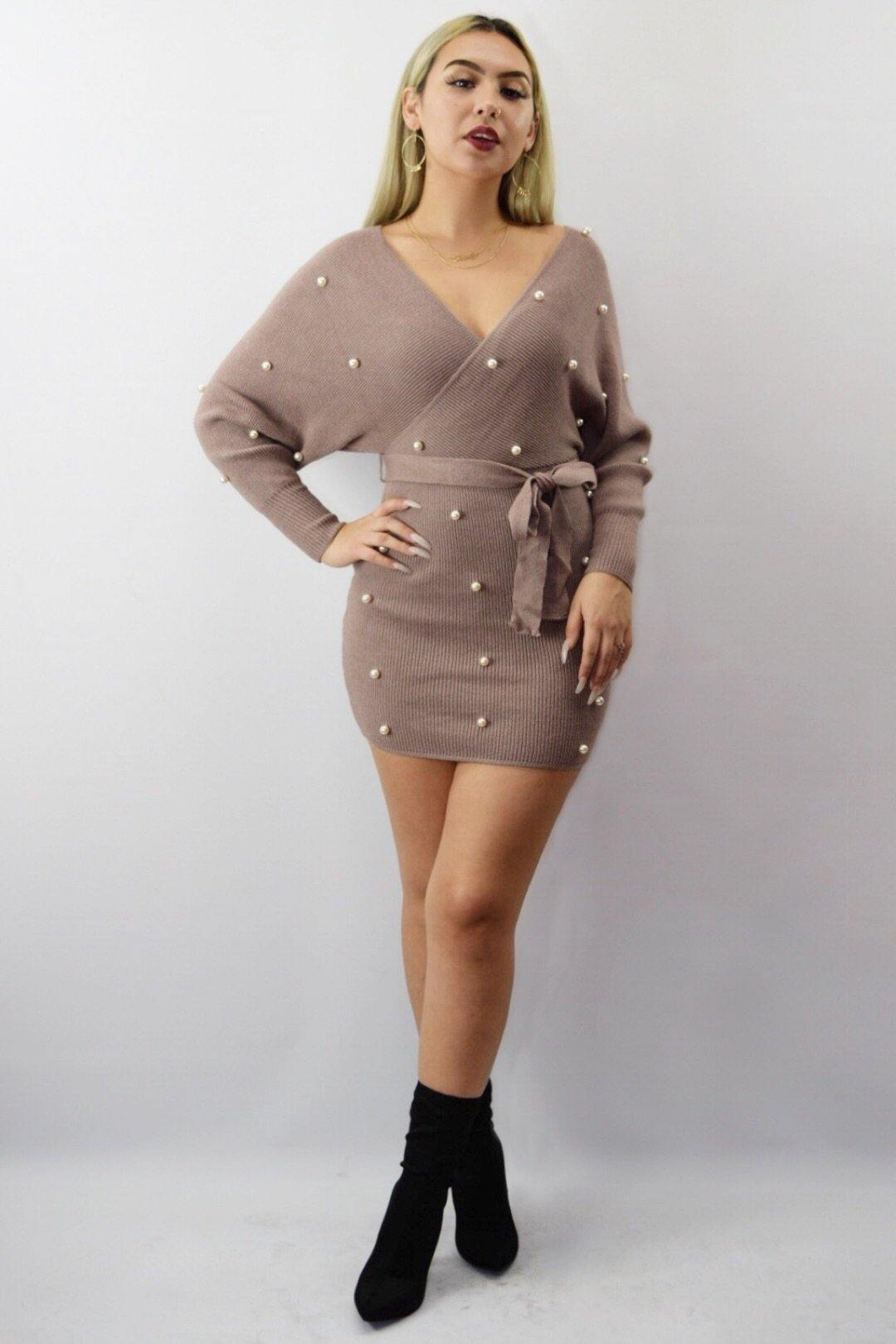 Wendy Pearls Mocha Dress