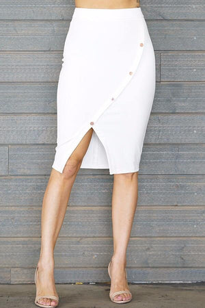 Laura, white slit skirt