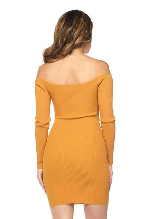 Off shoulder mustard mini dress - Dimesi Boutique
