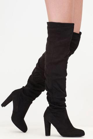 Amaya-61 Thigh High Black Boots