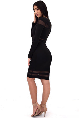 Long sleeve midi dress with mesh around - Dimesi Boutique