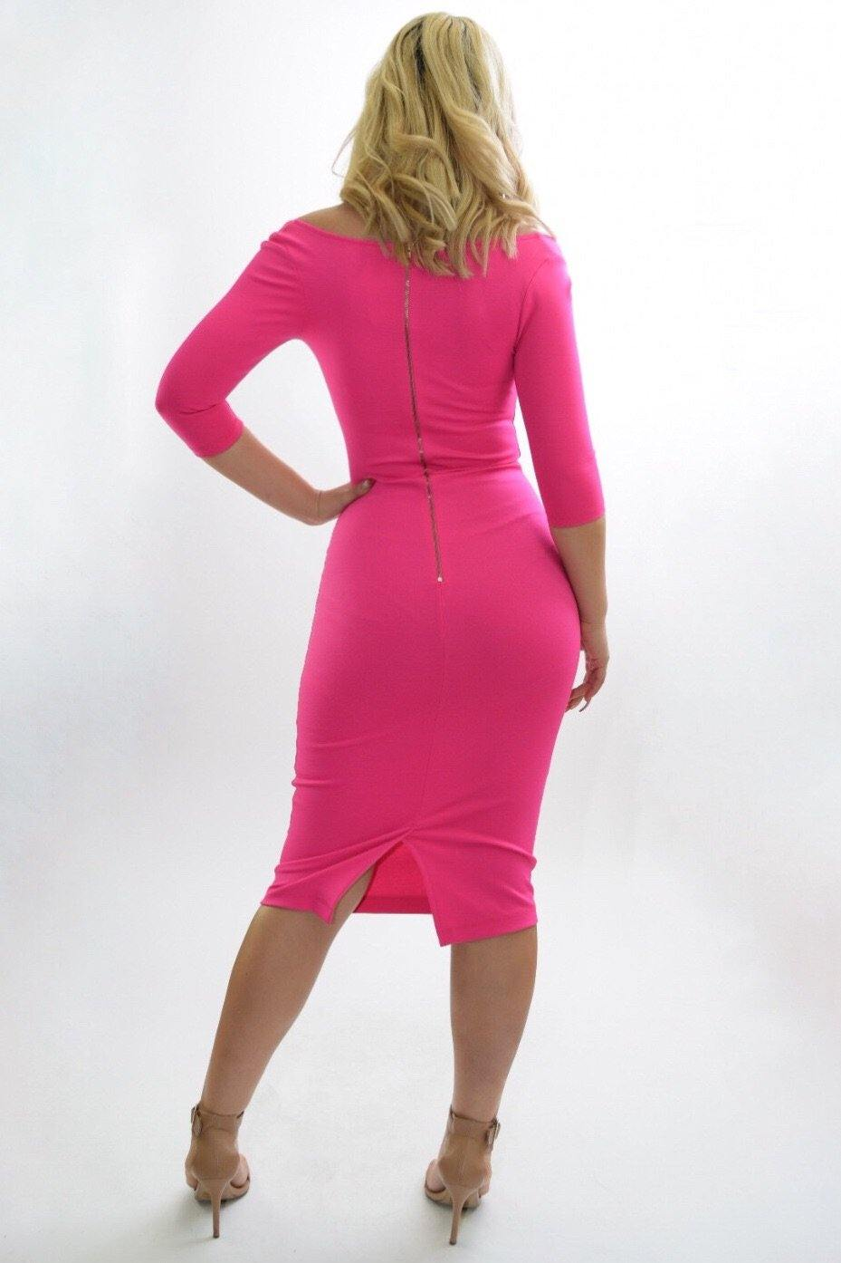 Margaret Pink bodycon middy dress