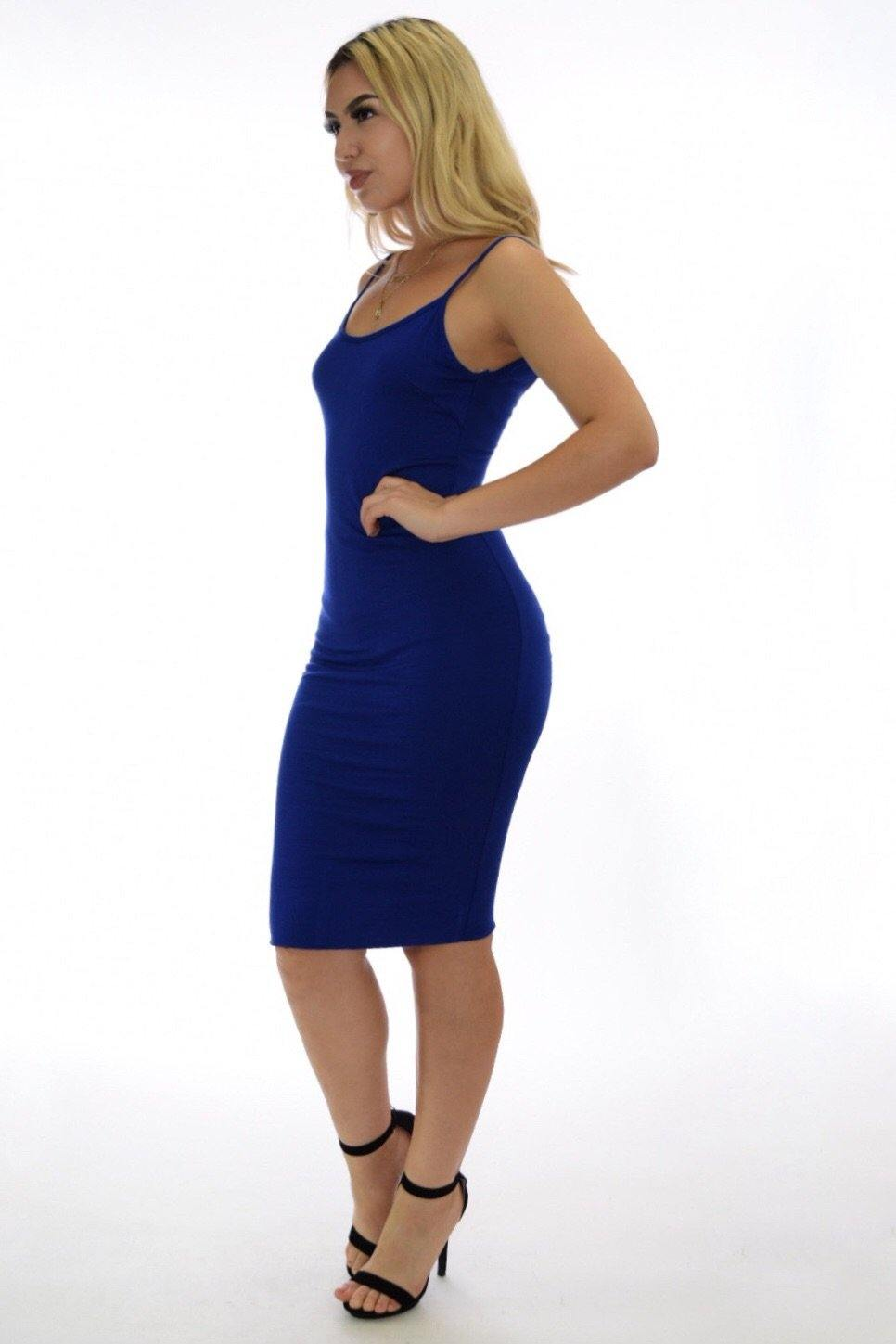 Vanessa royal blue dress with deep V-cut on back