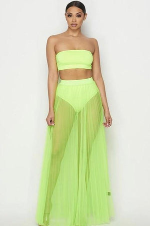 Sara, Pleated sheer thin tulle skirt - Dimesi Boutique