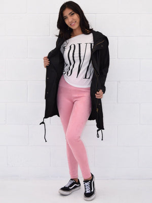 May, Pink suede high rise leggings - Dimesi Boutique