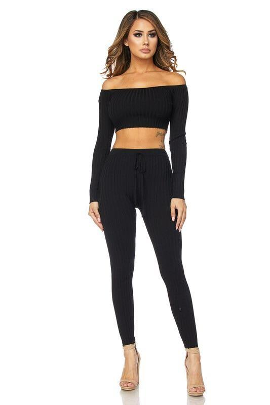 Maya Sexy Black 2 Piece Knitted Set