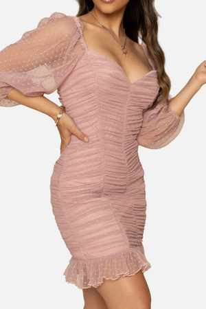 Long mesh sleeve double lined dress - Dimesi Boutique