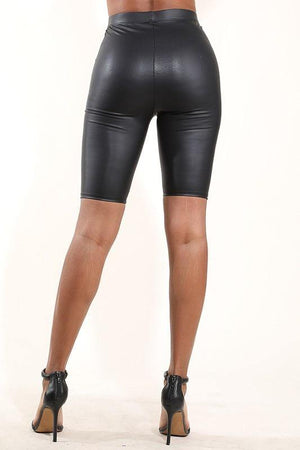 Amber Black PU Biker Shorts