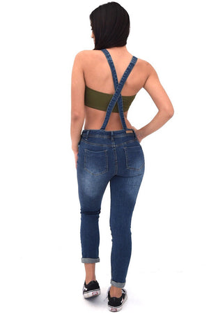 Distressed denim jeans overalls - Dimesi Boutique