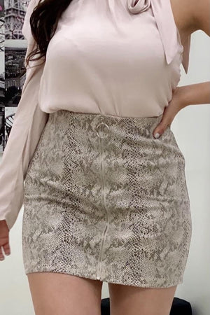 Snake skin print mini skirt - Dimesi Boutique