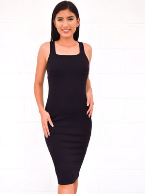 Sleeveless square neck midi dress - Dimesi Boutique
