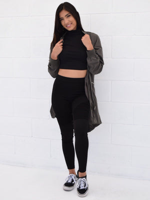 Karla, High rise leggings with stitched grooves - Dimesi Boutique