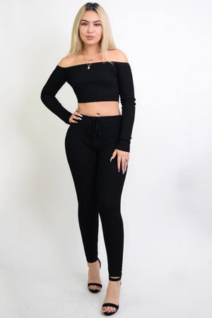 Maya Sexy Black 2 Piece Knitted Set - Dimesi Boutique