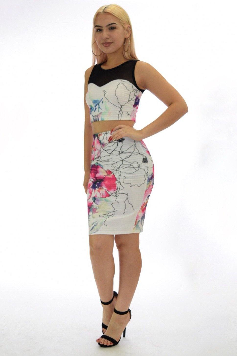 Samantha two piece black Floral Set