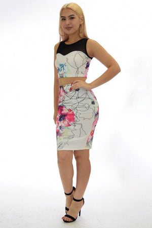Samantha, two piece black Floral Set