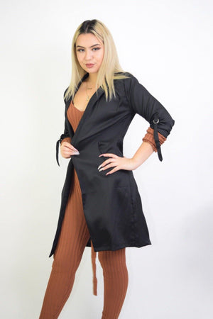 Priscilla, Long Sleeve Black Coat - Dimesi Boutique