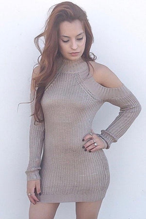 Cold shoulder, long sleeve knitted sweater dress