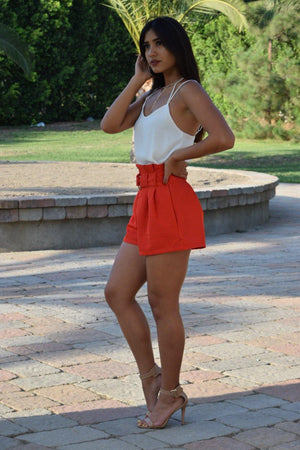 Sydney, High waist shorts with attached belt