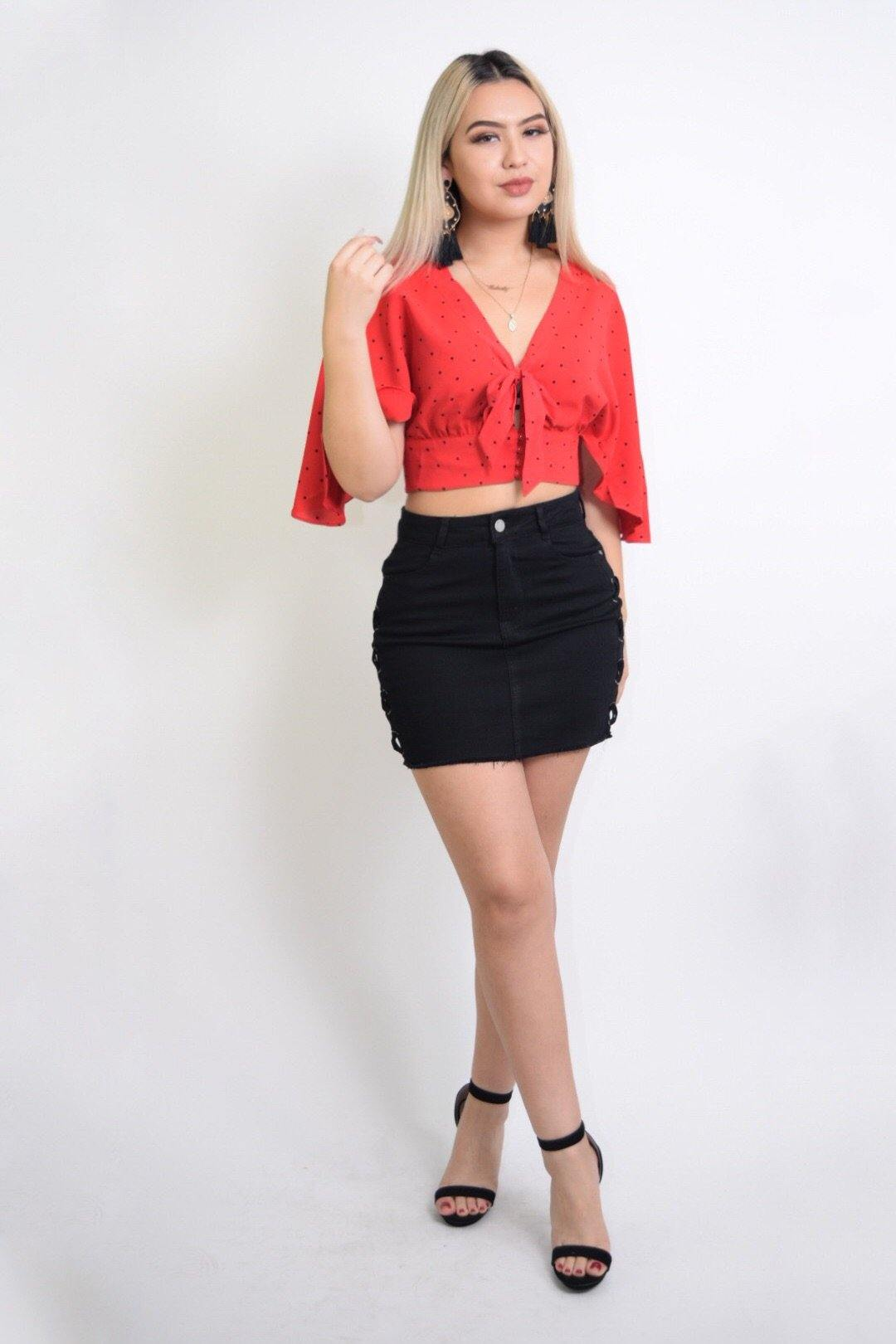 Celia Flared sleeves Red Cropped Blouse