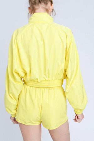 Yellow windbreaker cropped Jacket - Dimesi Boutique