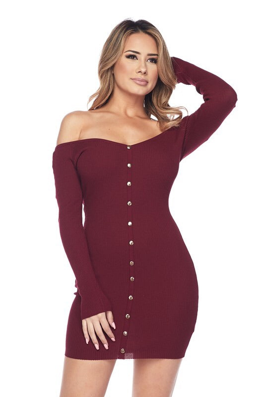 Alexa Knit Burgundy Dress