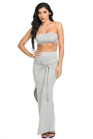 Abella, 2 Piece, Solid Grey Set