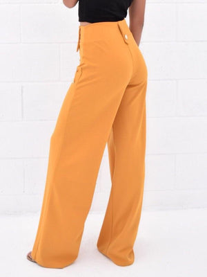 High waist flared pants with side buttoned - Dimesi Boutique
