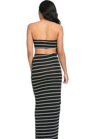 Black striped women's set - Dimesi Boutique