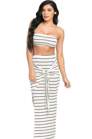 Abella, 2 Piece, Striped White Set
