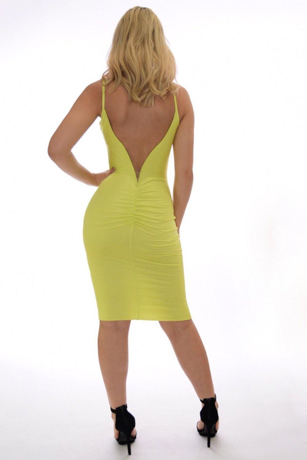 Vanessa Yellow-green dress with deep V-cut on back