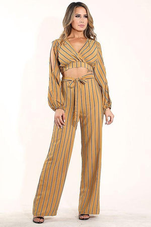 Paulina, Striped mustard Set - Dimesi Boutique