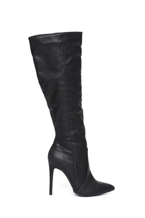 Giselle Leather Mid Calf Black Boots - Dimesi Boutique