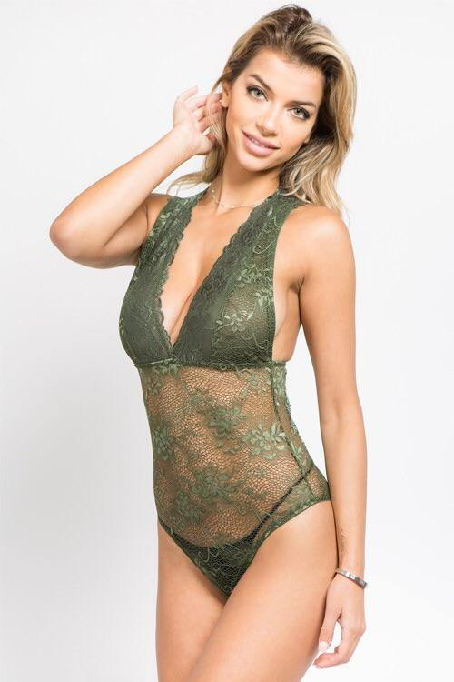 Katy olive all over lace bodysuit with plunge neckline c6e0b9c3d