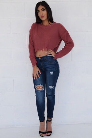 Distressed sweater top - Dimesi Boutique