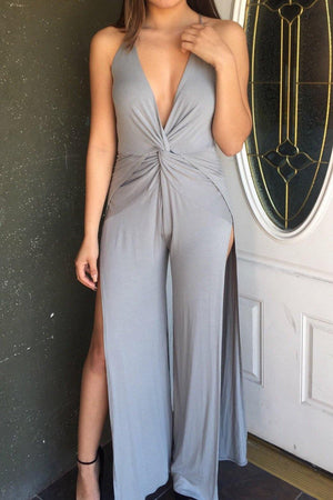 Open side deep V Neckline Giselle Black Jumpsuit - Dimesi Boutique
