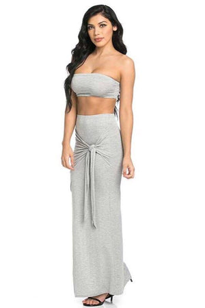 Strapless solid grey set - Dimesi Boutique