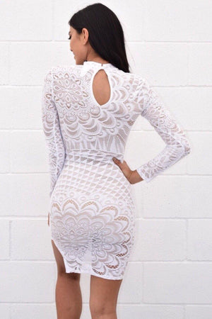Abriana white lace dress, that you can see through