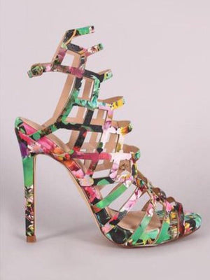 Asuka, Floral sling backs ankle strap heels - Dimesi Boutique