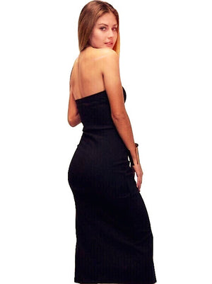Abeque, strapless mid slit dress
