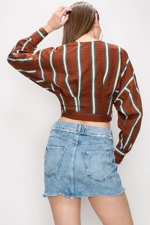 Berenice, Striped Rust Blouse - Dimesi Boutique