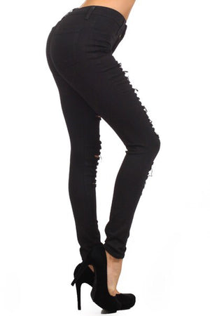 Tasha, High-rise distressed black jeans - Dimesi Boutique