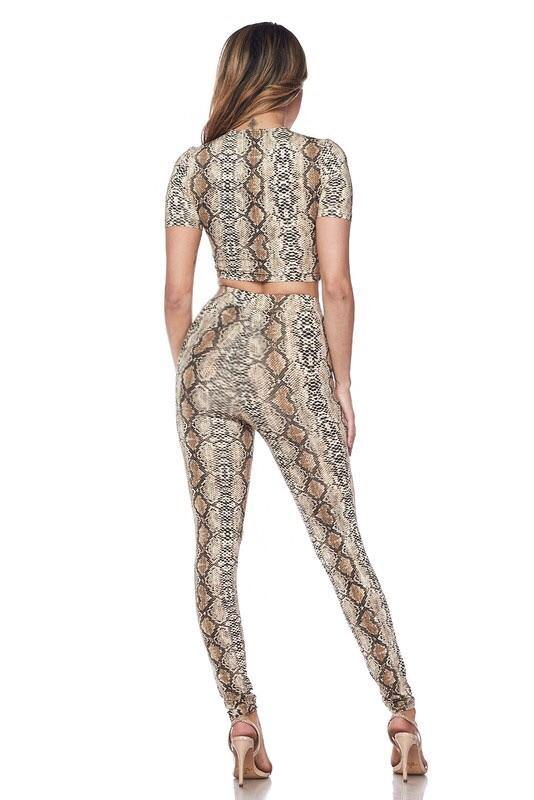 Jane Snake Print High Waisted Leggings