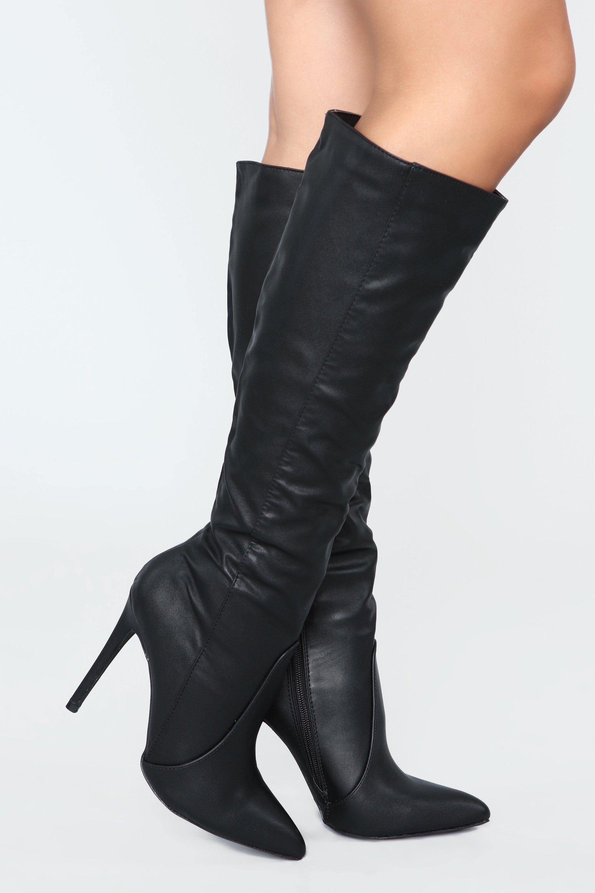 Giselle Leather Mid Calf Black Boots