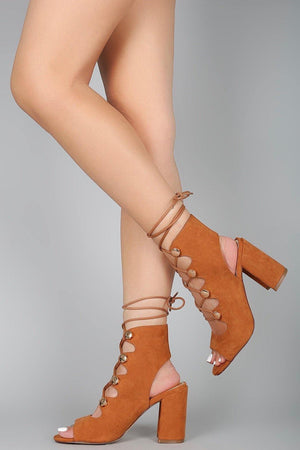 Nitch, Open Toe Tie up Chunky Heels - Dimesi Boutique