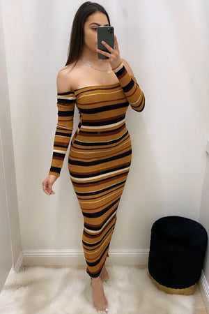 Dayana, Striped mustard dress